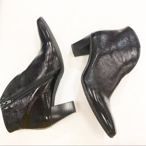 ARA Black Patent Leather Side Zip Booties